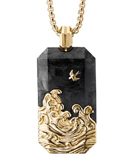 David Yurman - 18K Yellow Gold Waves Tag with Forged Carbon