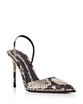 Alexander Wang - Women's Snake-Embossed Leather Slingback Pumps