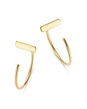 Moon & Meadow - Bar Front-Back Hoop Earrings in 14K Yellow Gold - 100% Exclusive