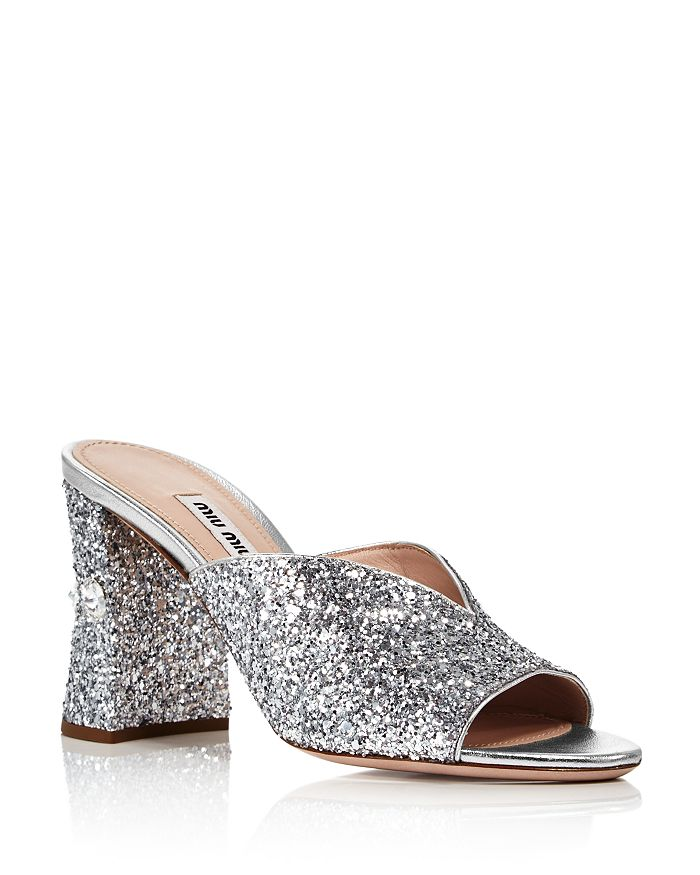e71a054386 Miu Miu Women's Rocchetto Crystal-Embellished Block Heel Sandals ...