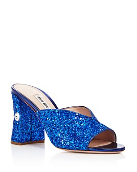 Miu Miu - Women's Rocchetto Crystal-Embellished Block Heel Sandals