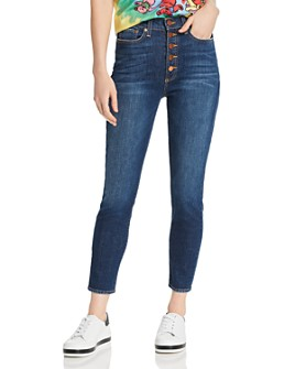Alice and Olivia - Good High-Rise Exposed-Button Skinny Jeans in Good Times