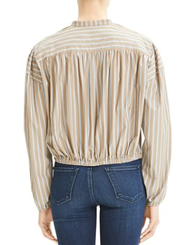 Theory - Striped Tie-Front Top