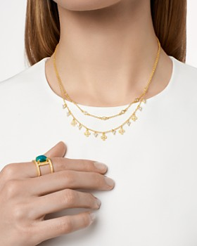 """Freida Rothman - Harmony Double Strand Short Necklace in 14K Gold-Plated Sterling Silver, 15"""""""