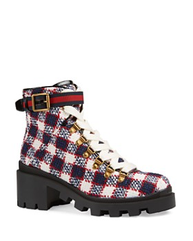 821f5183345 Gucci - Women s Trip Check Tweed Ankle Boots ...