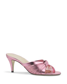 Gucci - Women's Crawford Metallic Leather Mid-Heel Sandals