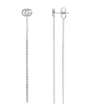 Gucci - 18K White Gold Running G Diamond Drop Earrings
