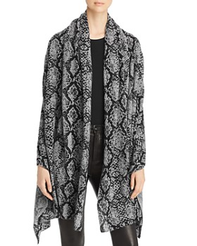 C by Bloomingdale's - Snake Print Cashmere Travel Wrap