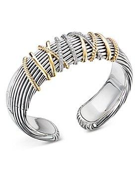 David Yurman - Sterling Silver & 18K Yellow Gold Helena Diamond Cuff Bracelet