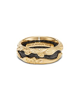 David Yurman - 18K Yellow Gold & Forged Carbon Waves Ring