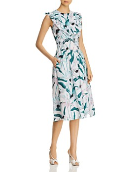 Tory Burch - Ruffle-Trimmed Printed Dress