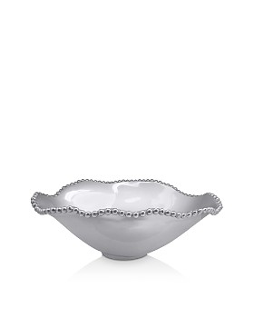 Mariposa - Pearled Oval Wavy Serving Bowl