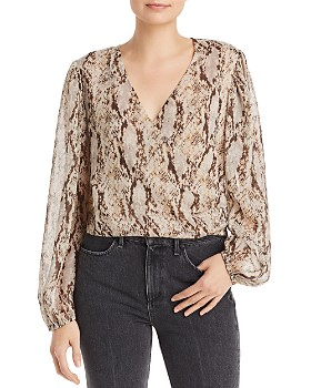 Bardot - Snake-Print Faux Wrap Blouse - 100% Exclusive