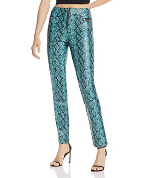 Tiger Mist - Pearl Snakeskin-Print Faux Leather Pants