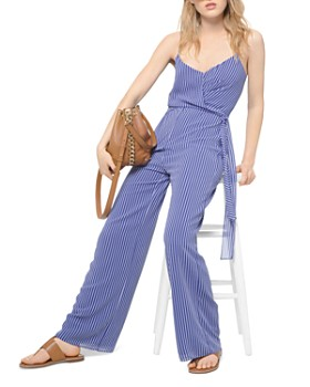 MICHAEL Michael Kors - Striped Tie-Detail Georgette Jumpsuit