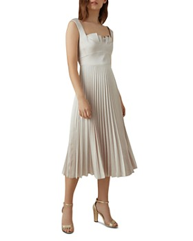 KAREN MILLEN - Pleated Satin Midi Dress