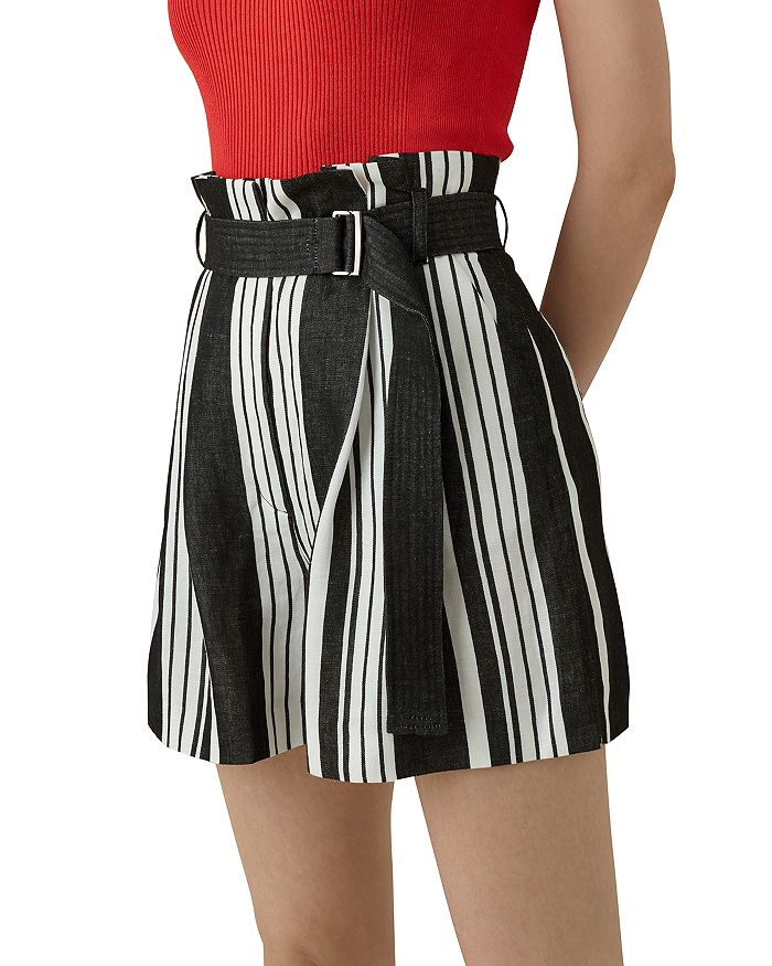Karen Millen Paperbag-Waist Striped Shorts In Black/White
