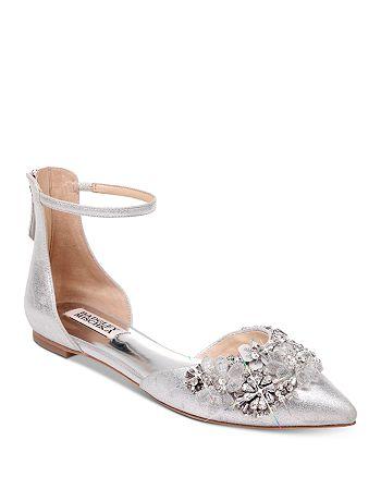 Badgley Mischka - Women's Abby 2 Crystal-Embellished Pointed Toe Flats
