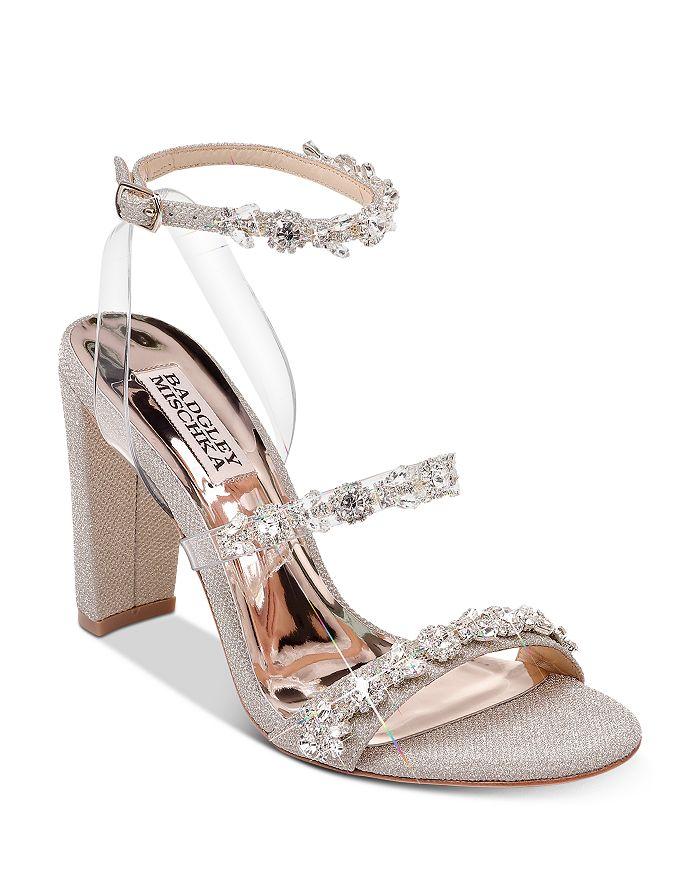 Badgley Mischka - Women's Adel Crystal-Embellished Block Heel Sandals