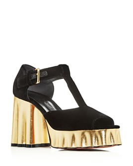 Marni - Women's T-Strap Block High-Heel Platform Sandals
