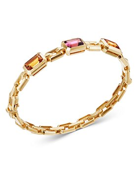David Yurman - 18K Yellow Gold Novella Bracelet with Madeira Citrine & Pink Tourmaline