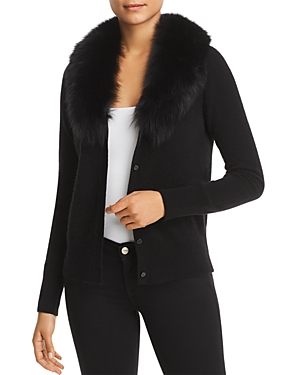 C by Bloomingdale's Fox Fur-Collar Cashmere Cardigan - 100% Exclusive