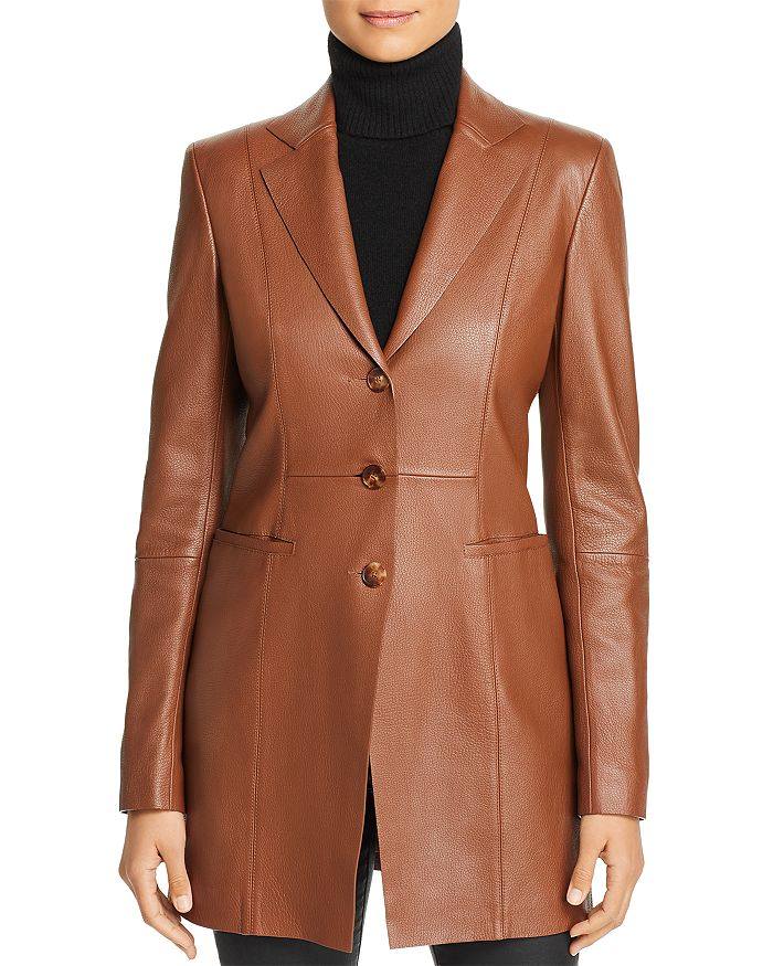 Lafayette 148 New York - Jaqueline Leather Long Blazer