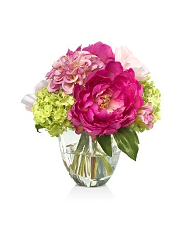 Diane James Home - Peony & Snowball Faux Floral Arrangement in Glass Vase