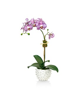 Diane James Home - Purple Orchid Faux Floral Arrangement in White Cacti Pot