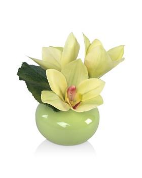 Diane James Home - Green Cymbidium Faux Floral Arrangement in Porcelain Vase