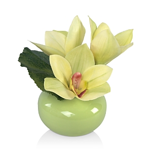 Diane James Home Green Cymbidium Faux Floral Arrangement in Porcelain Vase