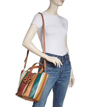 Tory Burch - Miller Striped Medium Leather Bucket Bag
