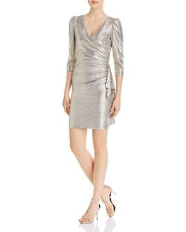 AQUA - Three-Quarter Sleeve Ruffled Mini Dress - 100% Exclusive