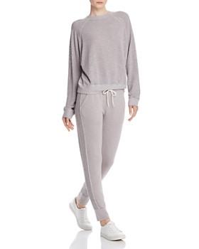 Monrow -  Open-Knit Mesh Sweatshirt