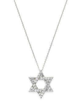 Bloomingdale's - Diamond Star of David Pendant Necklace in 14K White Gold, 0.50 ct. t.w. - 100% Exclusive
