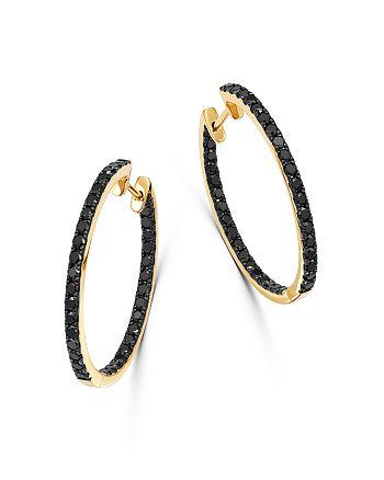 Bloomingdale's - Black Diamond Inside-Out Large Hoop Earrings in 14K Yellow Gold, 1.35 ct. t.w. - 100% Exclusive