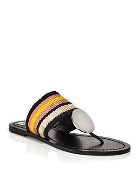 Tory Burch - Women's Patos Stripe Disc Thong Sandals