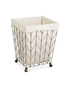 Honey Can Do - Coastal Collection Chevron Rolling Hamper with Wheels, Bronze