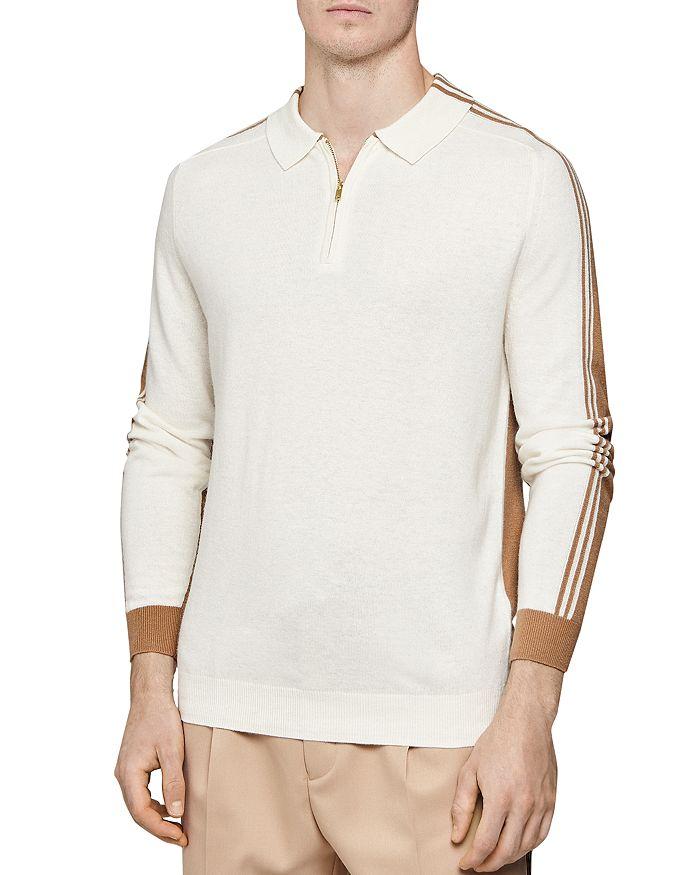 REISS - Silver Thorn Intarsia Half-Zip Regular Fit Polo Shirt