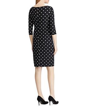 Ralph Lauren - Polka Dot Jersey Cowl-Neck Dress