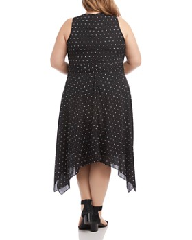 Karen Kane Plus - Polka Dot-Print Handkerchief Hem Dress