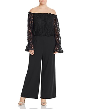 867657b329da Adrianna Papell Plus - Off-the-Shoulder Lace Jumpsuit ...