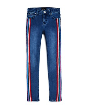 Hudson - Girls' Kit Glitter-Stripe Ankle Skinny Jeans, Big Kid - 100% Exclusive