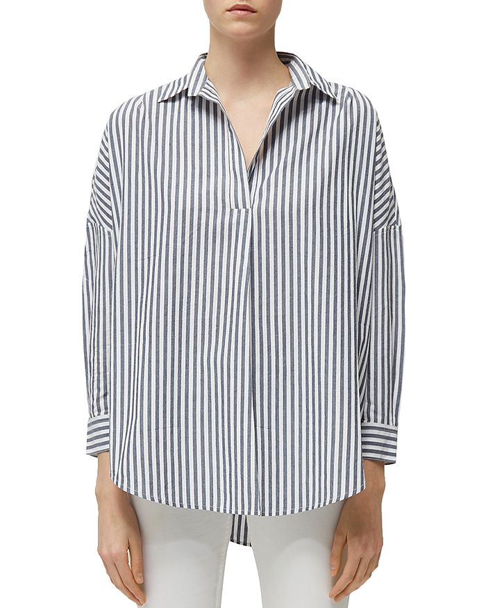 FRENCH CONNECTION - Rhodes Striped Pullover Cotton Shirt