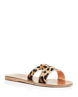 Ancient Greek Sandals - Women's Desmos Leopard-Print Calf Hair Slide Sandals
