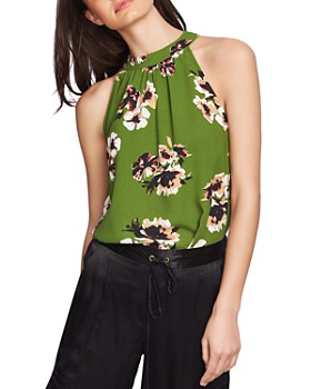 1.STATE - High-Neck Floral-Print Blouse