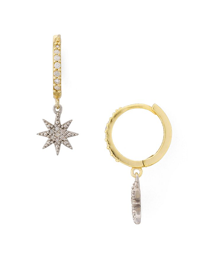Bloomingdale's - Diamond Starburst Huggie Hoop Earrings in Gold-Plated Sterling Silver - 100% Exclusive