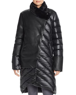 Snowman - Asymmetric Hem Faux Leather & Down Coat