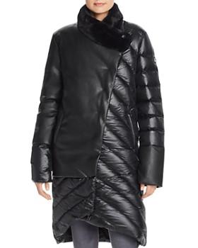 Snowman - Asymmetric Hem Faux Leather & Down Coat