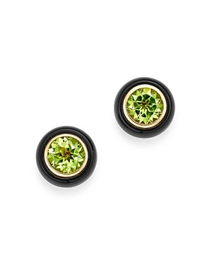 Bloomingdale's Peridot & Black Onyx Bezel Stud Earrings in 14K Yellow Gold - 100% Exclusive